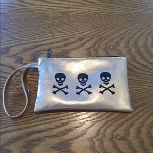 Loungefly Skull &Crossbones Gold Wristlet Mini Bag